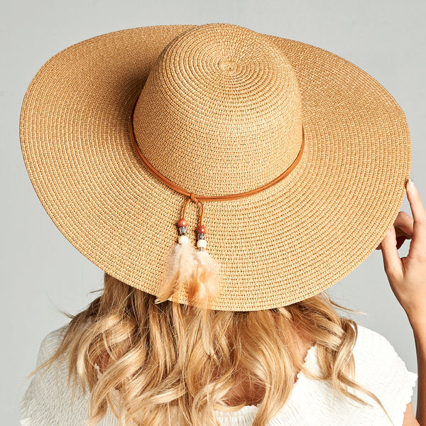 Straw Floppy Sun Hat with Feather
