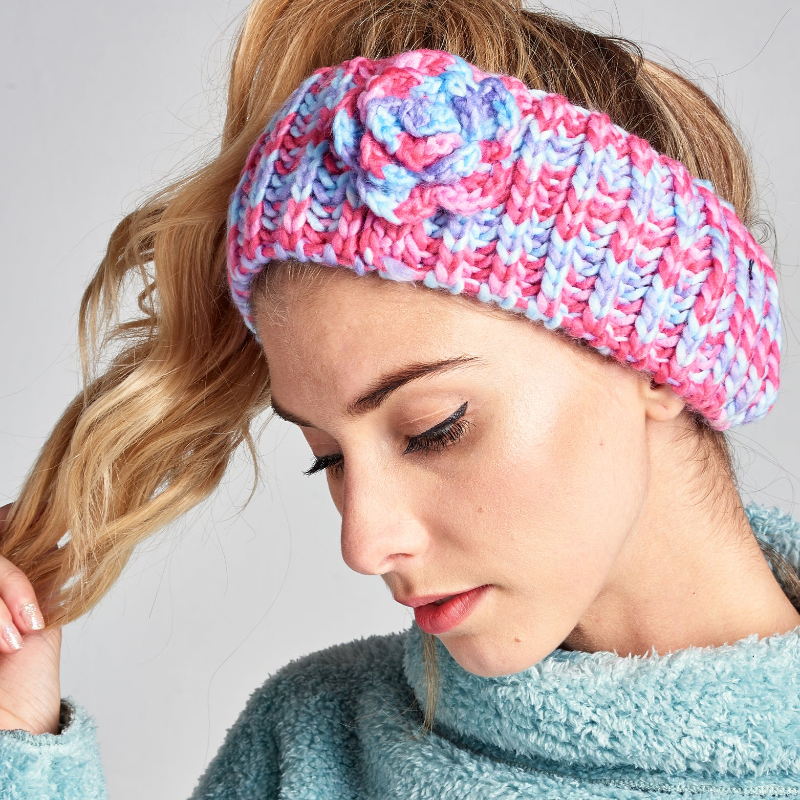 Crochet Knit Floral Headband
