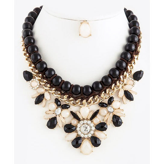 Floral Jeweled Link Beads Chains Collar Statement Necklace Set