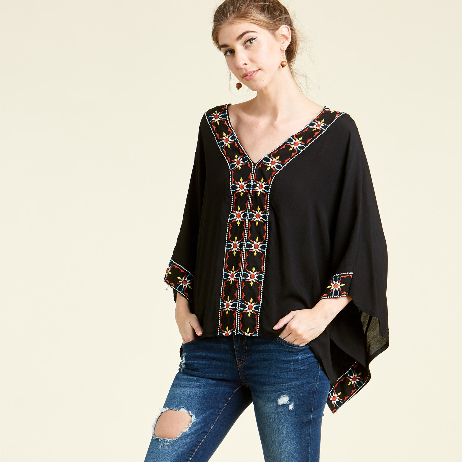 Evening Twinkle Embroidered Poncho
