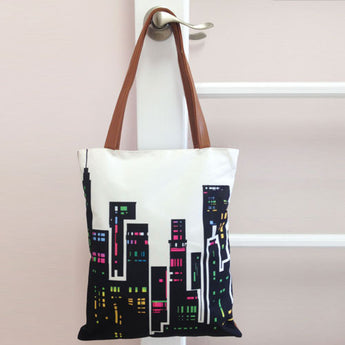 City Lights Canvas Tote Handbag