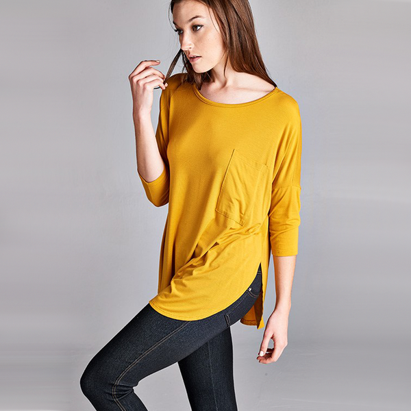 Silky Drop Shoulder Pocket Tee