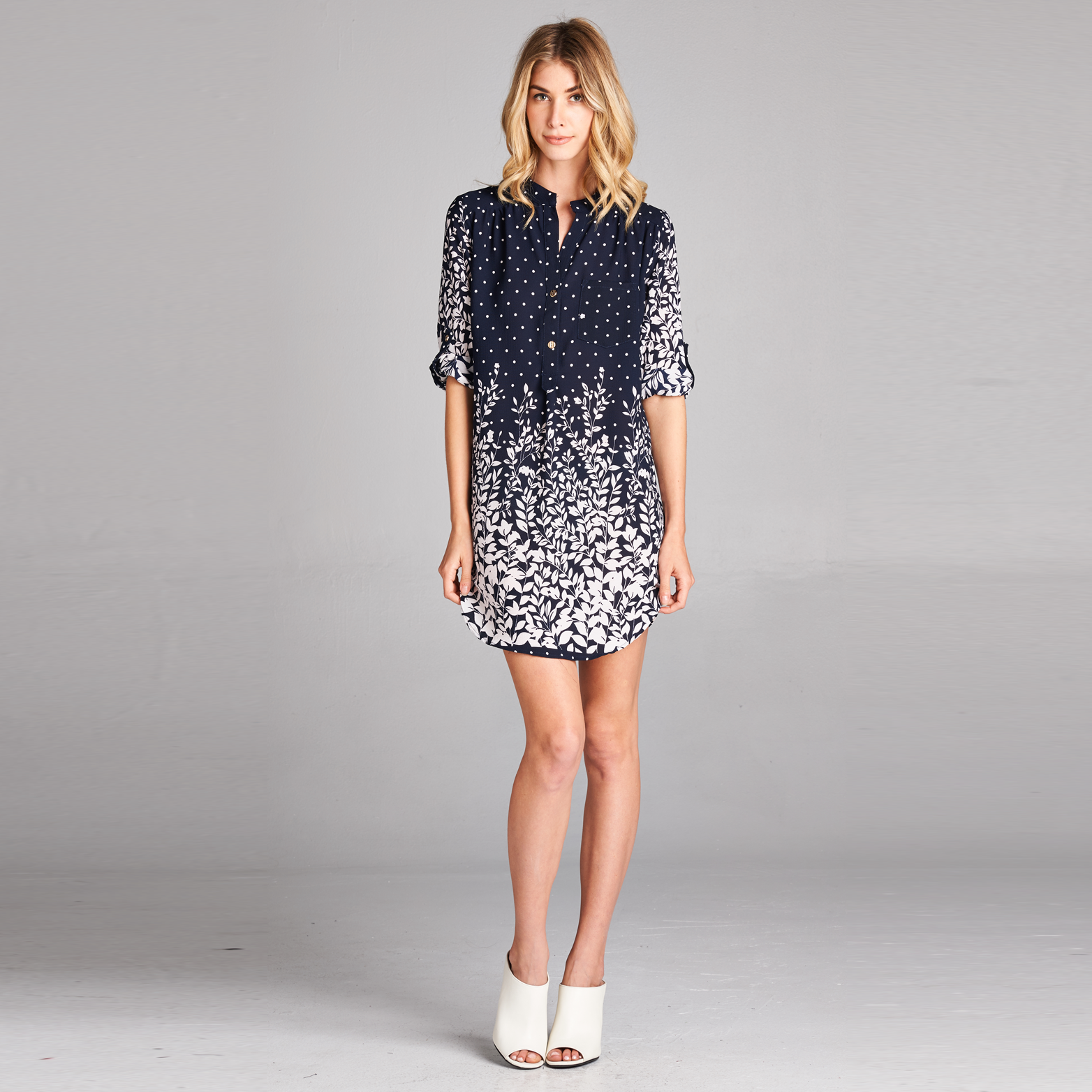 Polka-Floral Shirt Dress