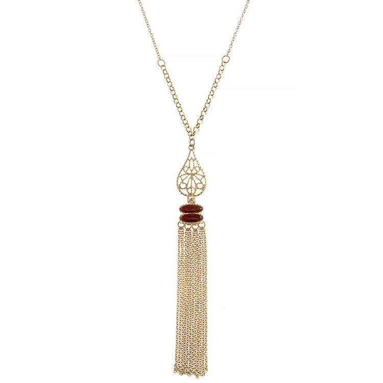 Filigree Teardrop Tassel Necklace - Love, Kuza