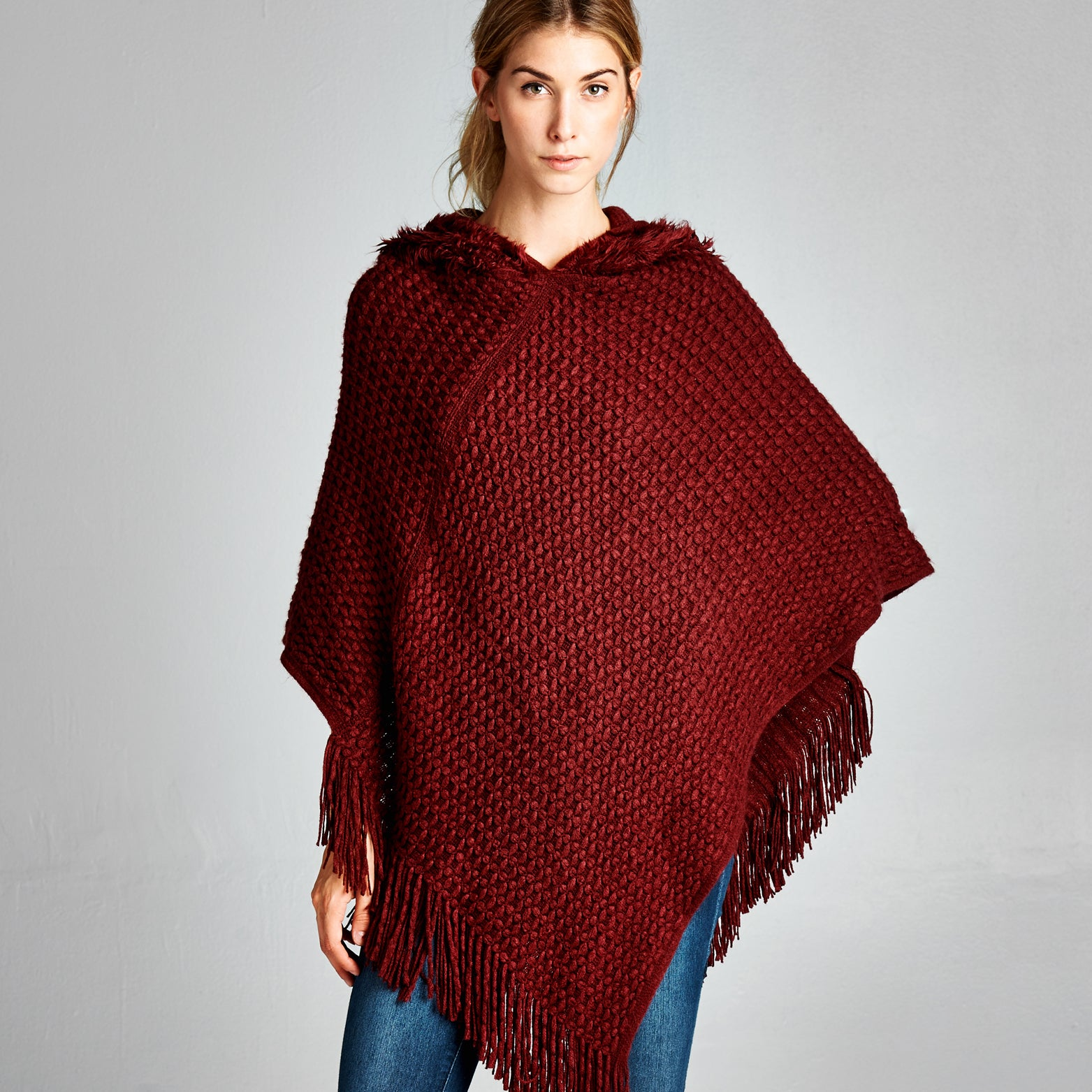 Waffle Knit Hooded Poncho