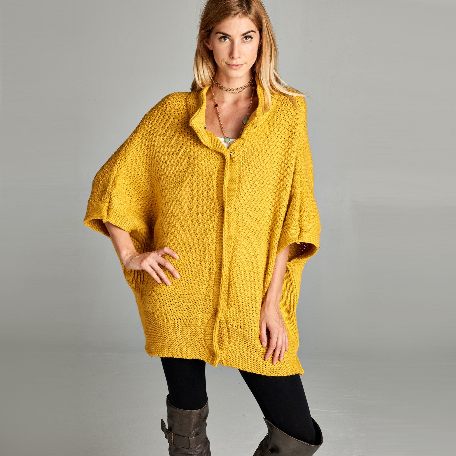 Oversized Button Down Poncho