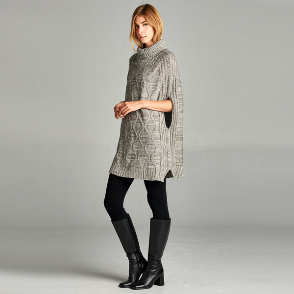 Cowl Neck Trellis Cape Sweater