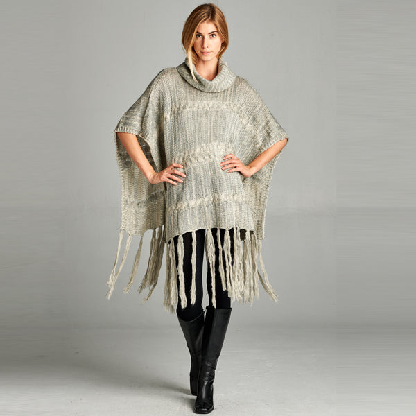Cable Knit Cowl Neck Fringe Poncho - Love, Kuza