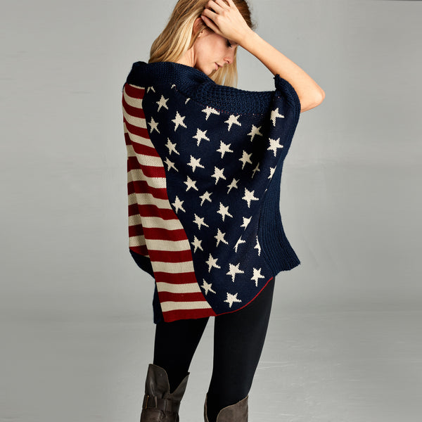 American Flag Button Down Poncho
