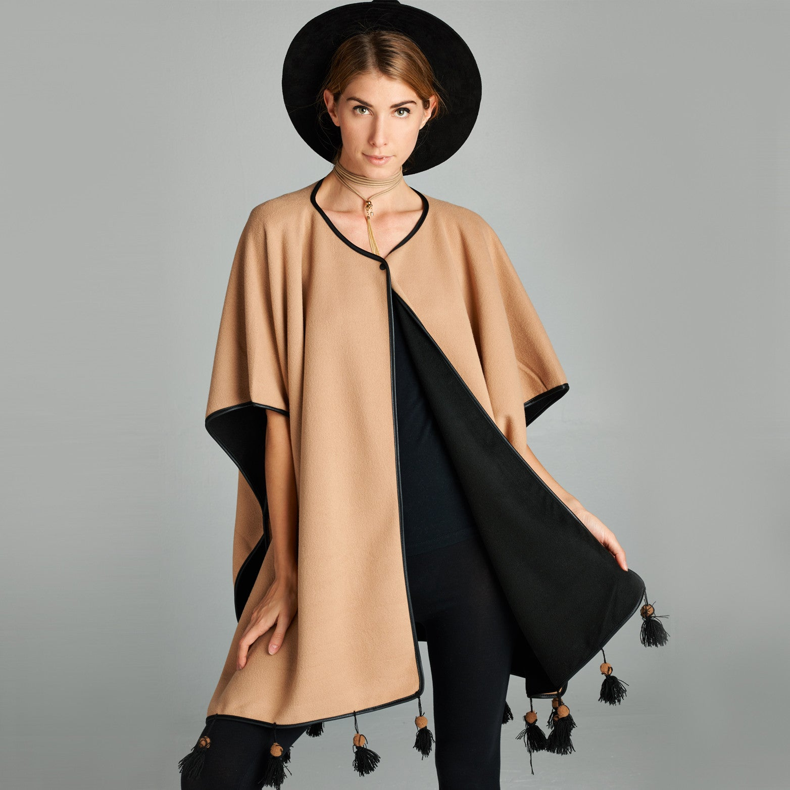 Tasseled Reversible Fleece Poncho