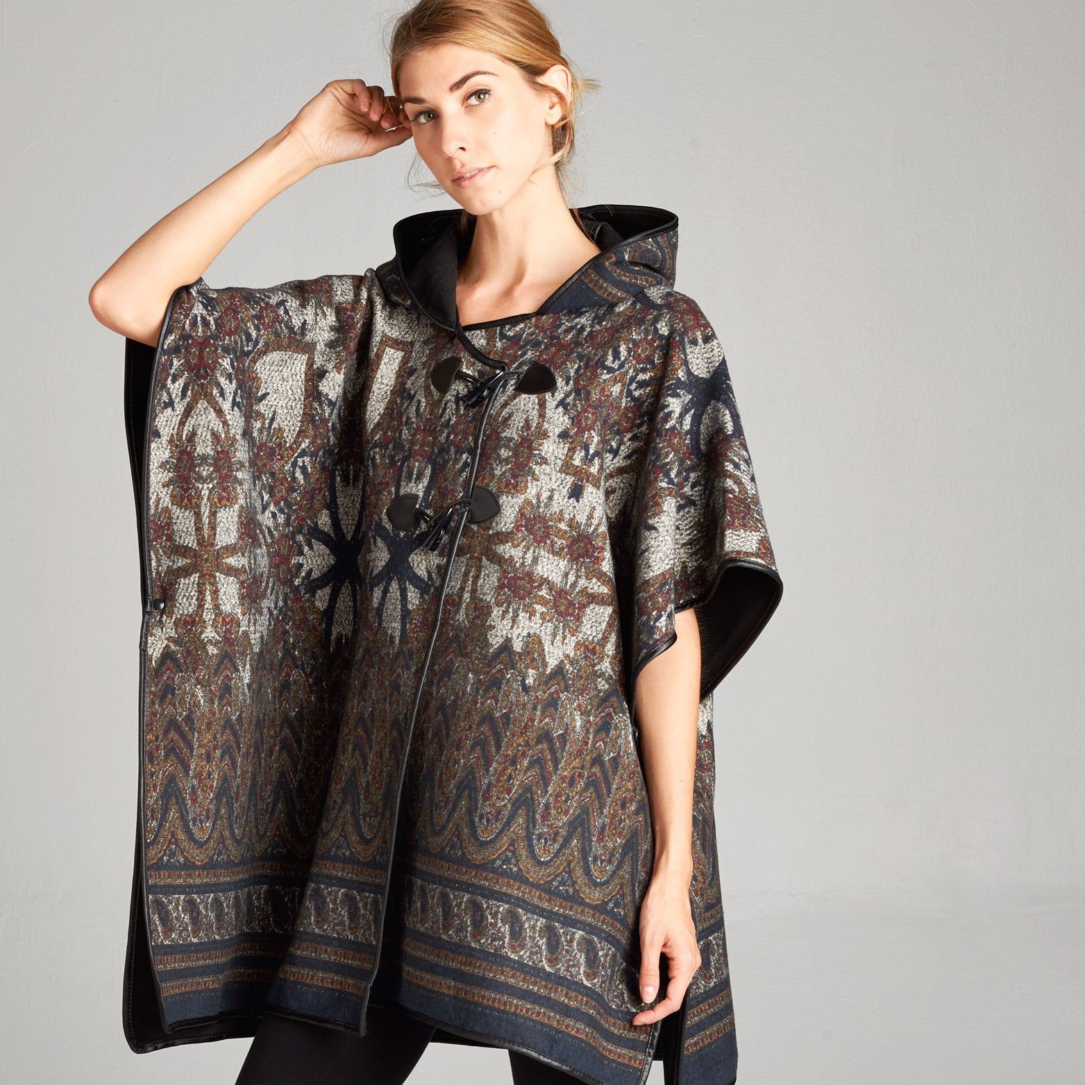 Paisley Abstract Reversible Poncho