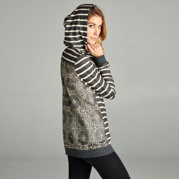 Striped Lace Back Hooded Jacket