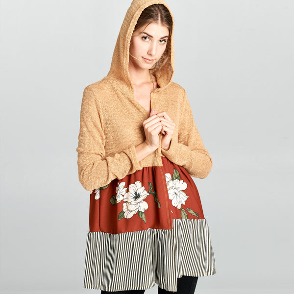 Floral-Stripe Colorblock Hooded Cardigan