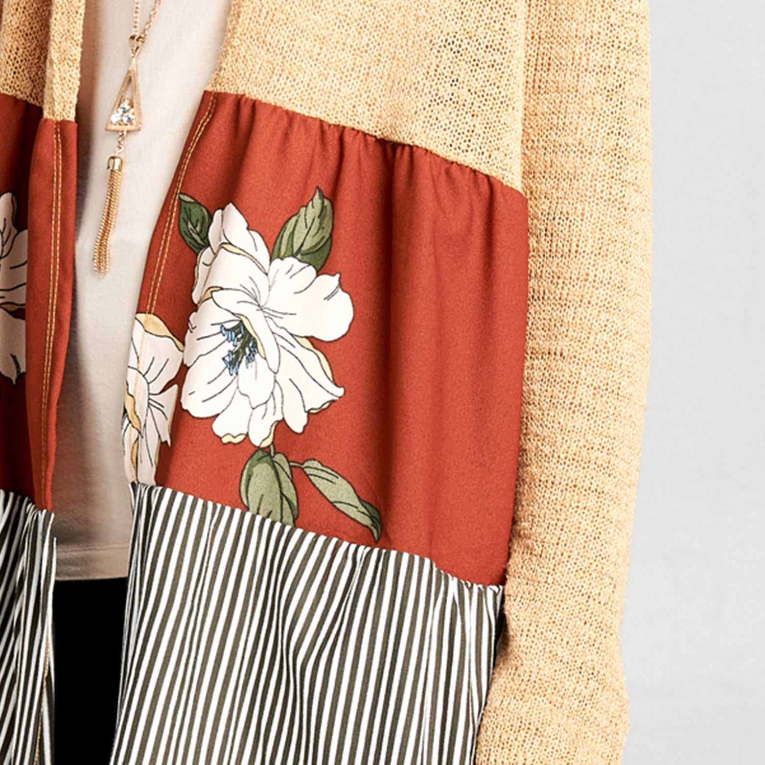 Floral-Stripe Colorblock Hooded Cardigan - Love, Kuza