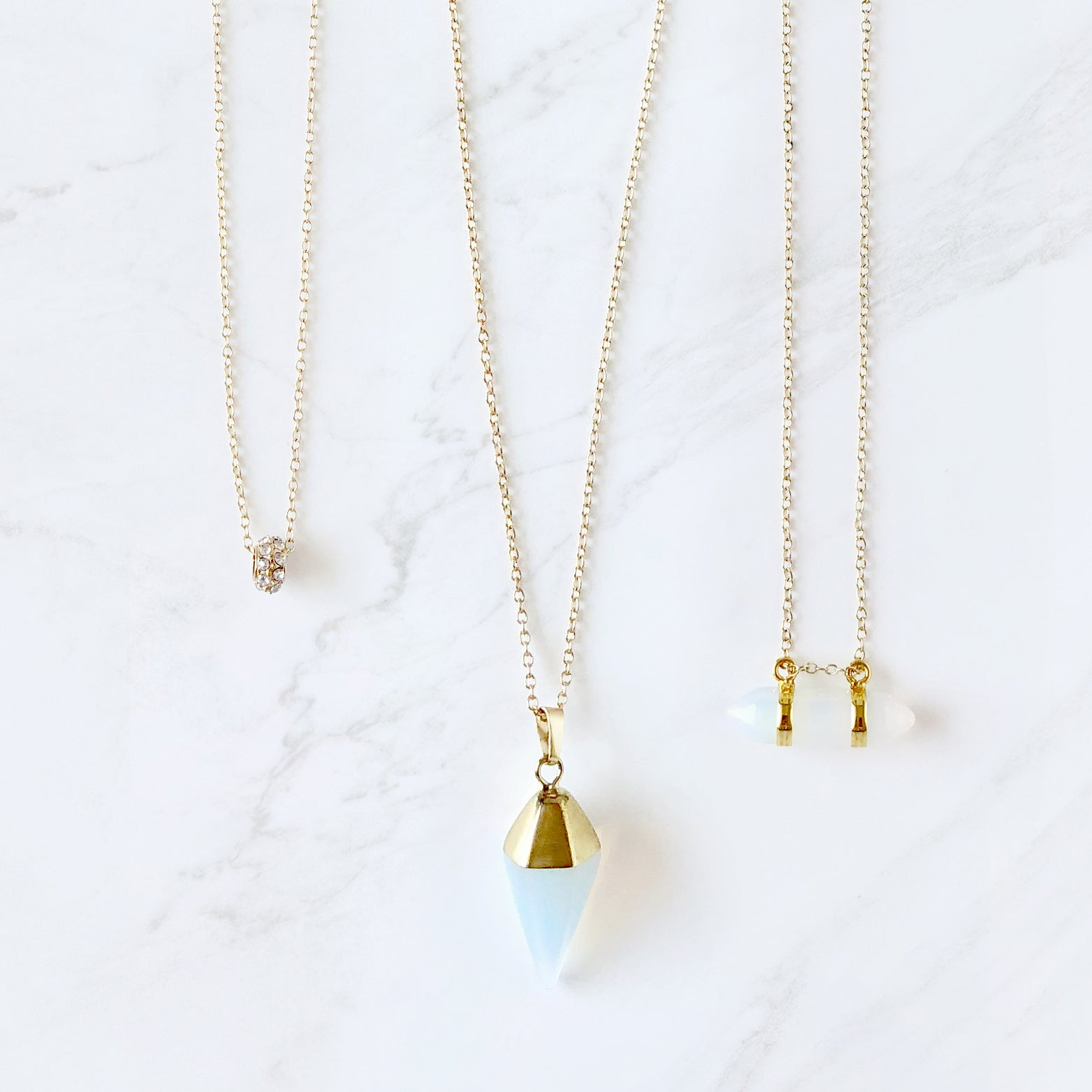 Crystal & Opalite Pendant Necklace Set - Love, Kuza
