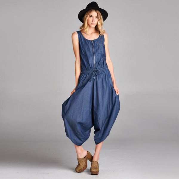 Denim Parachute Jumpsuit