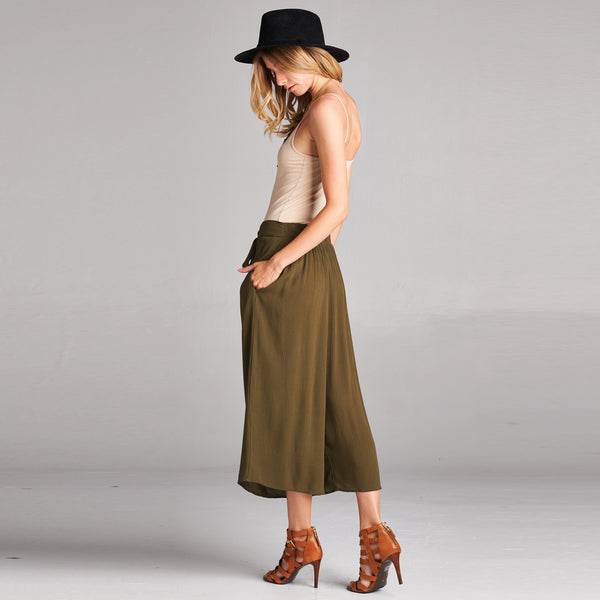 Gauze Culottes With Pockets