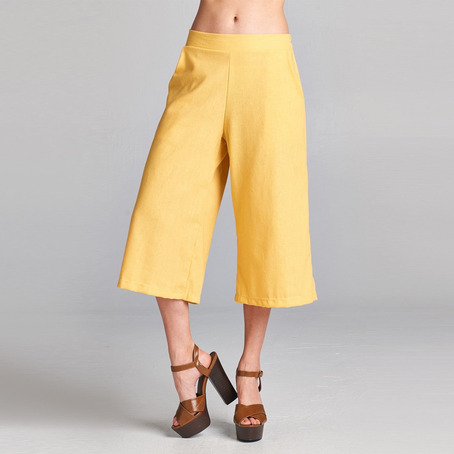 Linen Wide Leg Culottes with Pockets