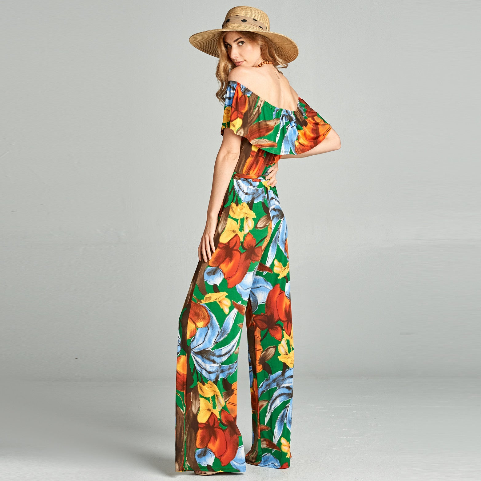 Abstract Floral Venechia Off Shoulder Jumpsuit