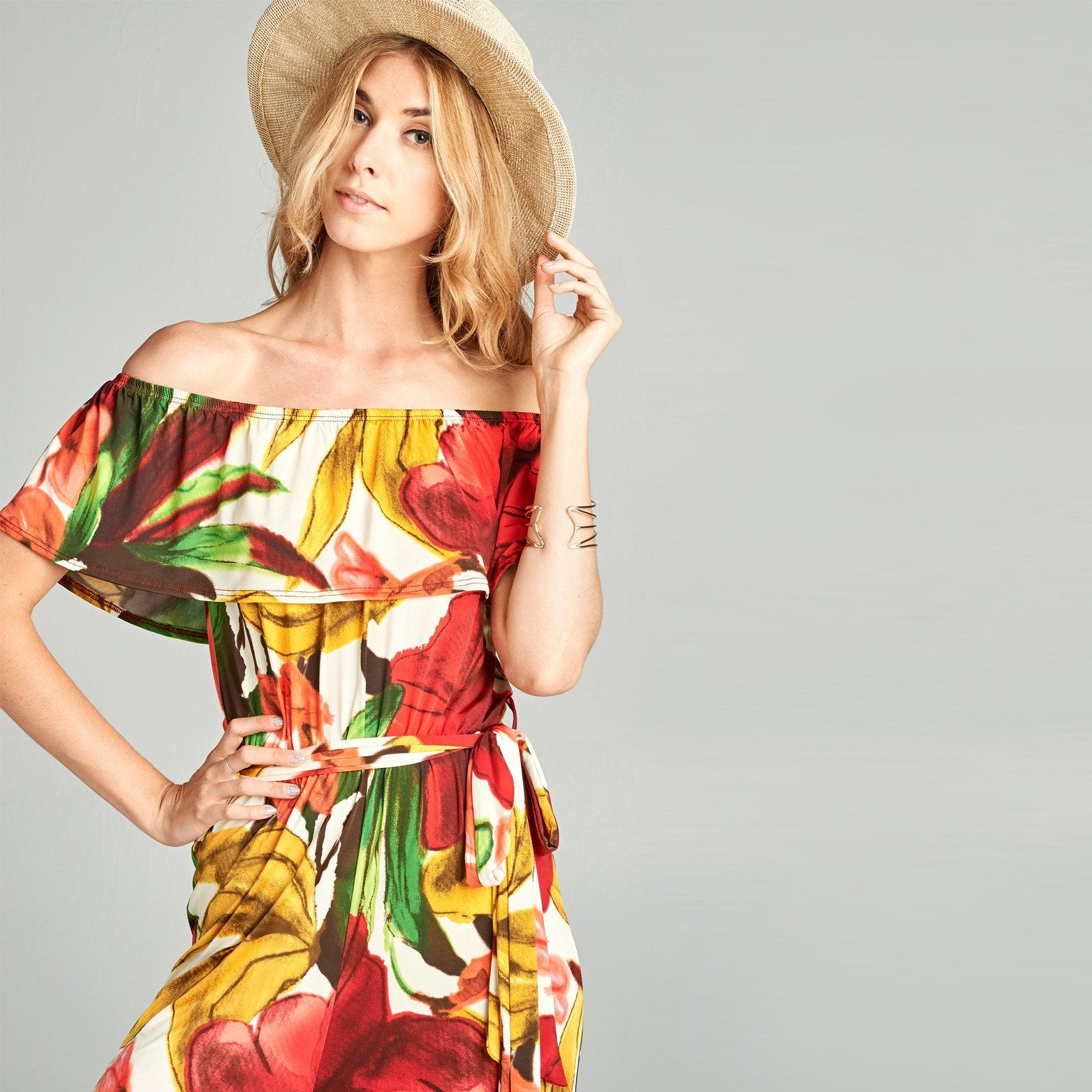 Abstract Floral Off Shoulder Jumpsuit