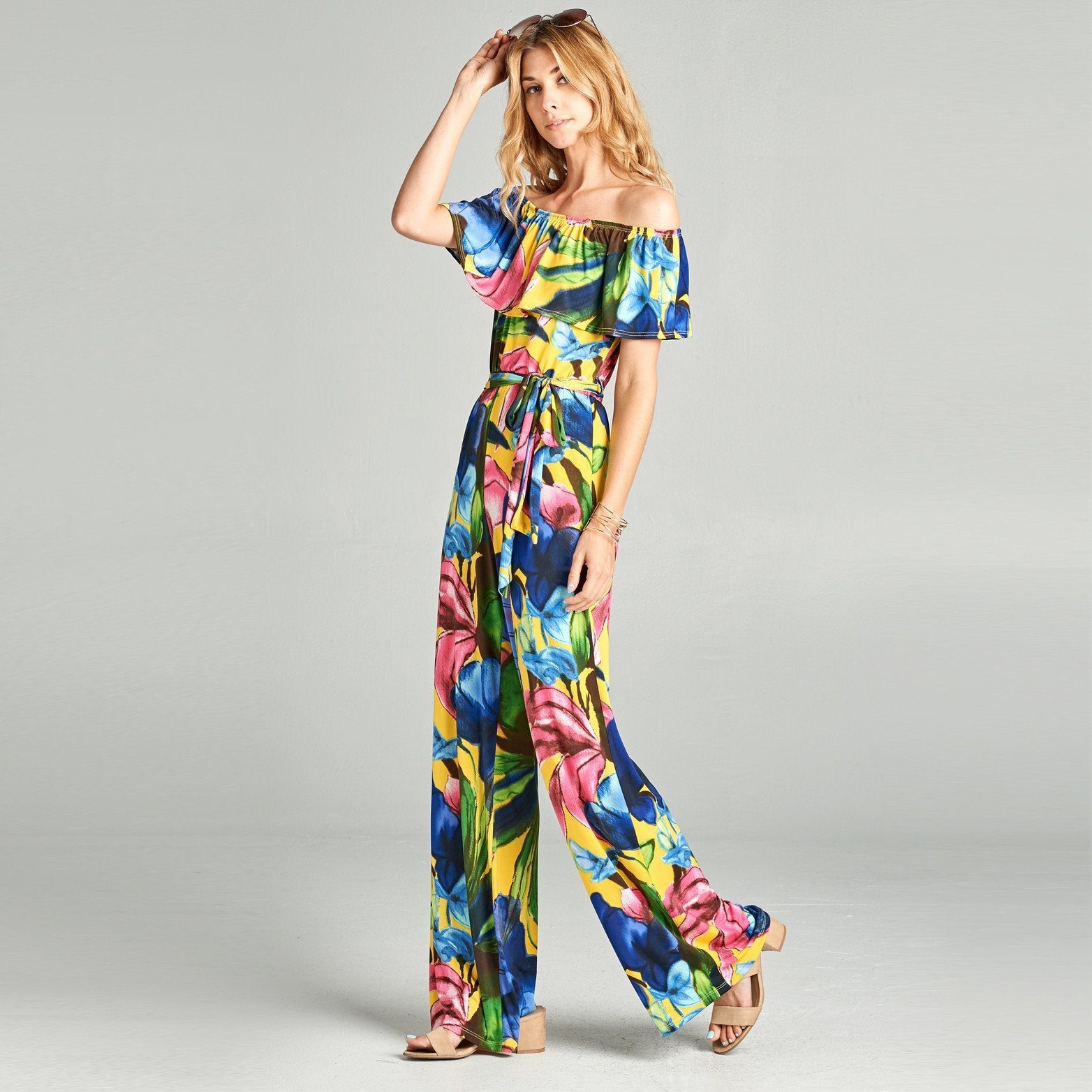 Abstract Floral Venechia Off Shoulder Jumpsuit - Love, Kuza