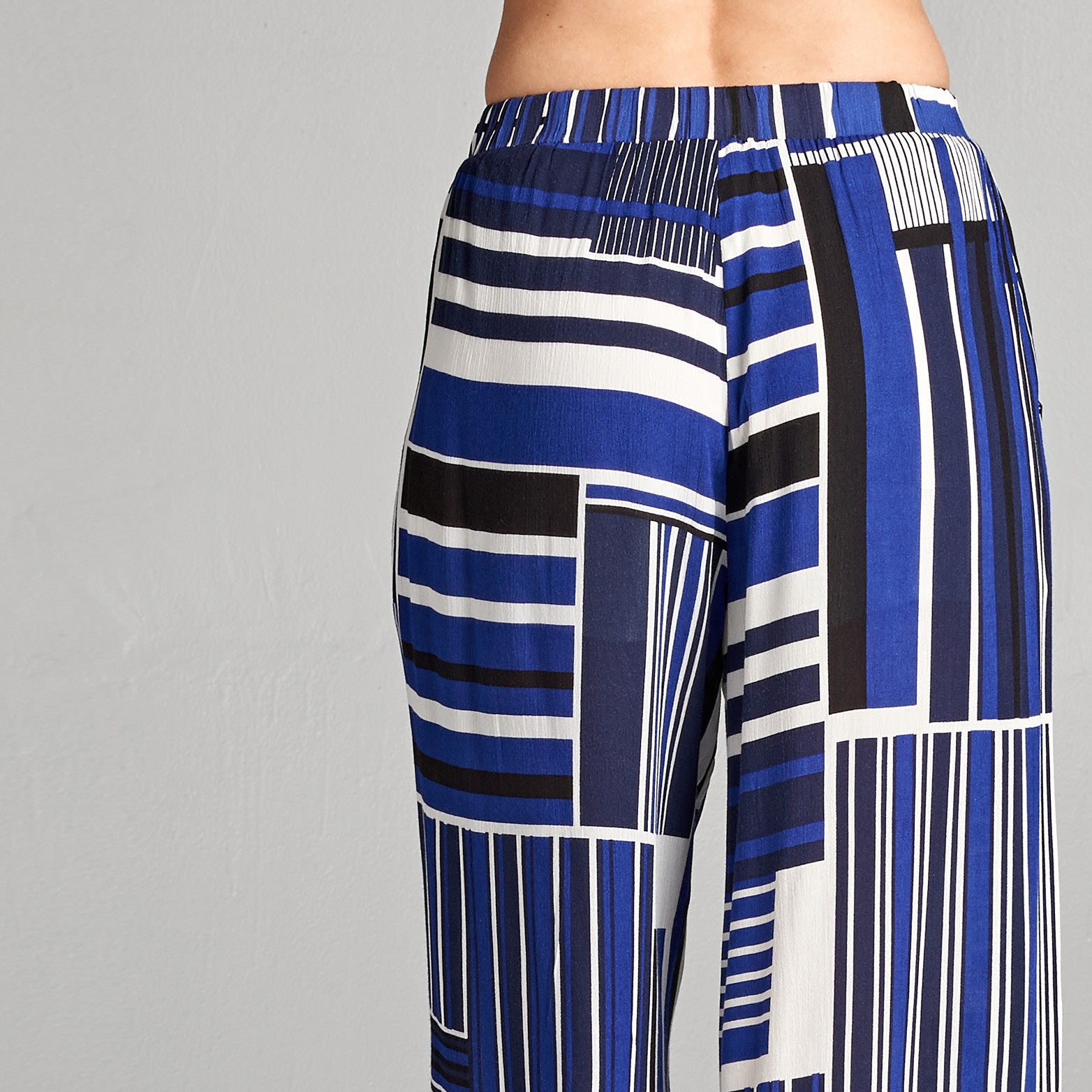 Abstract Stripe Wide Leg Pants