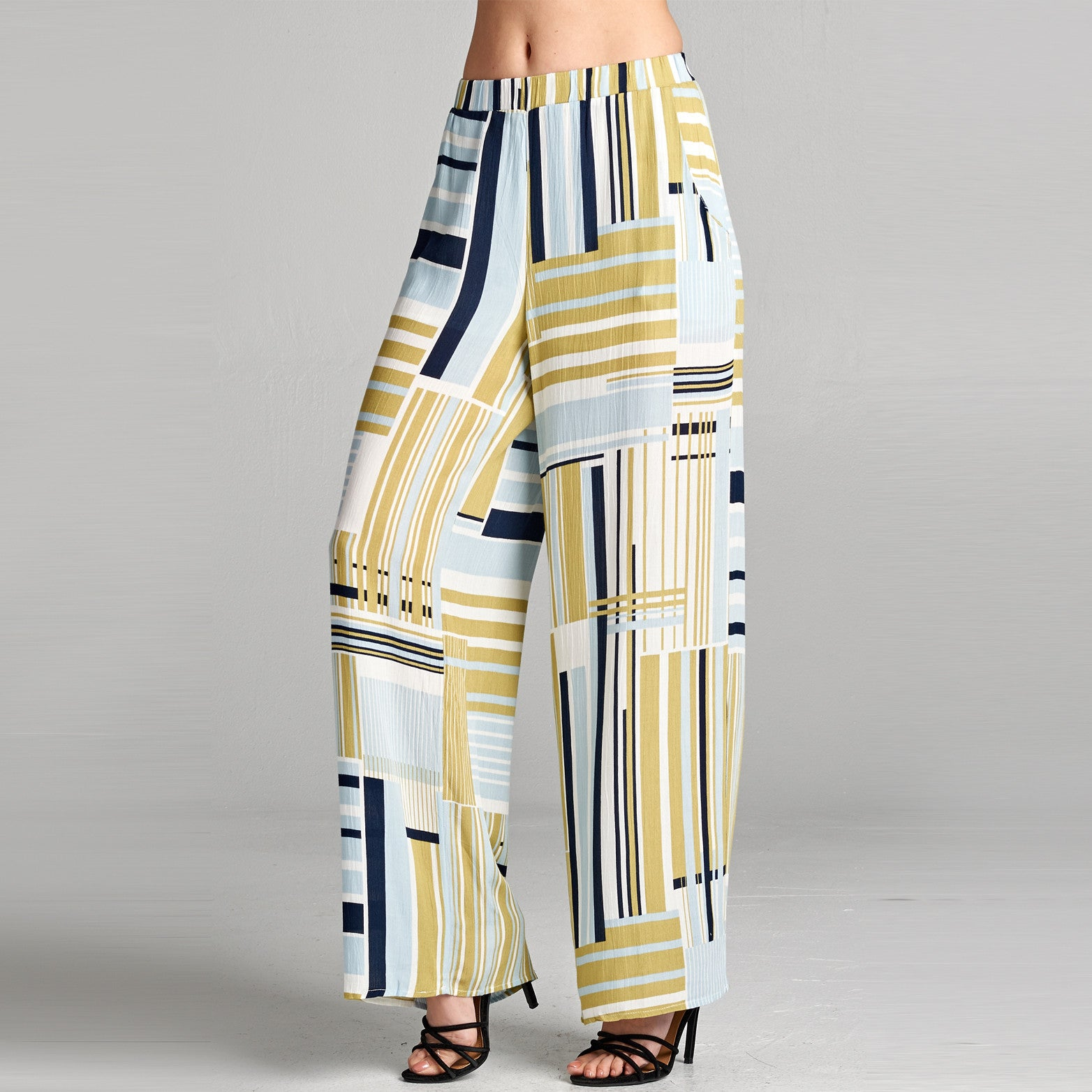 Abstract Striped Wide Leg Pants