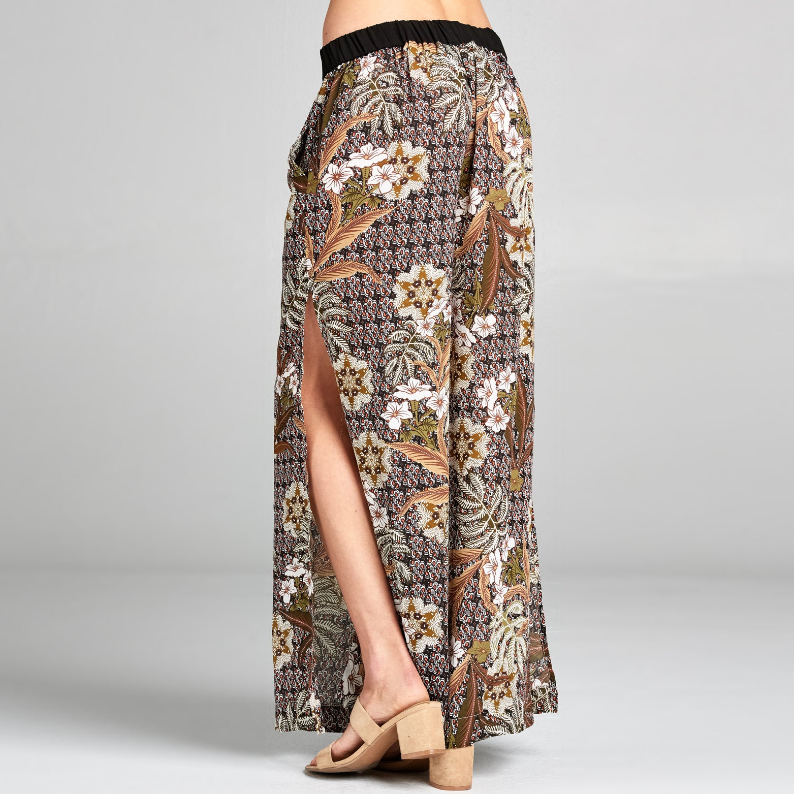 Olive Floral Palazzo Pants