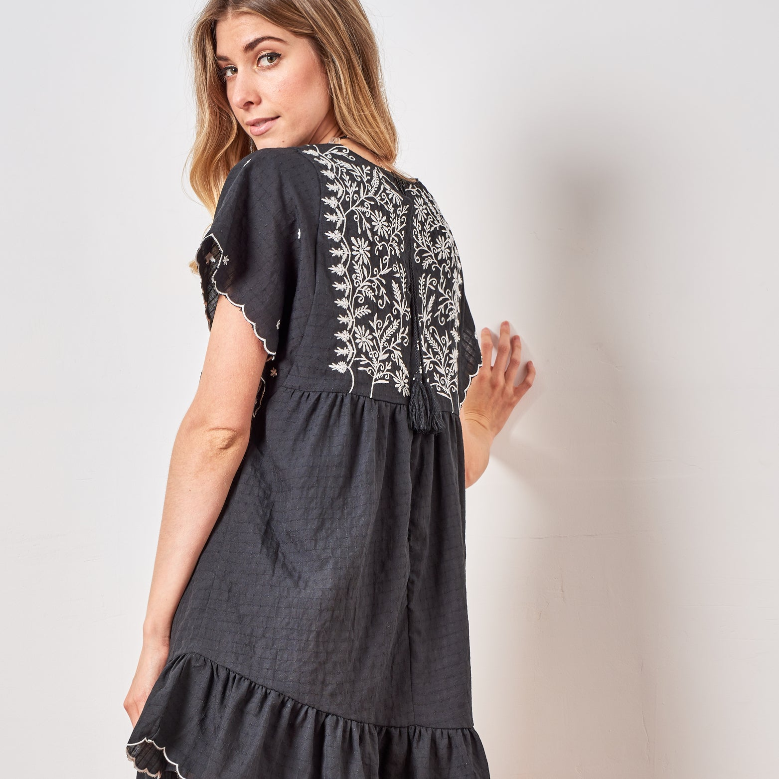 Embroidered Romper Dress