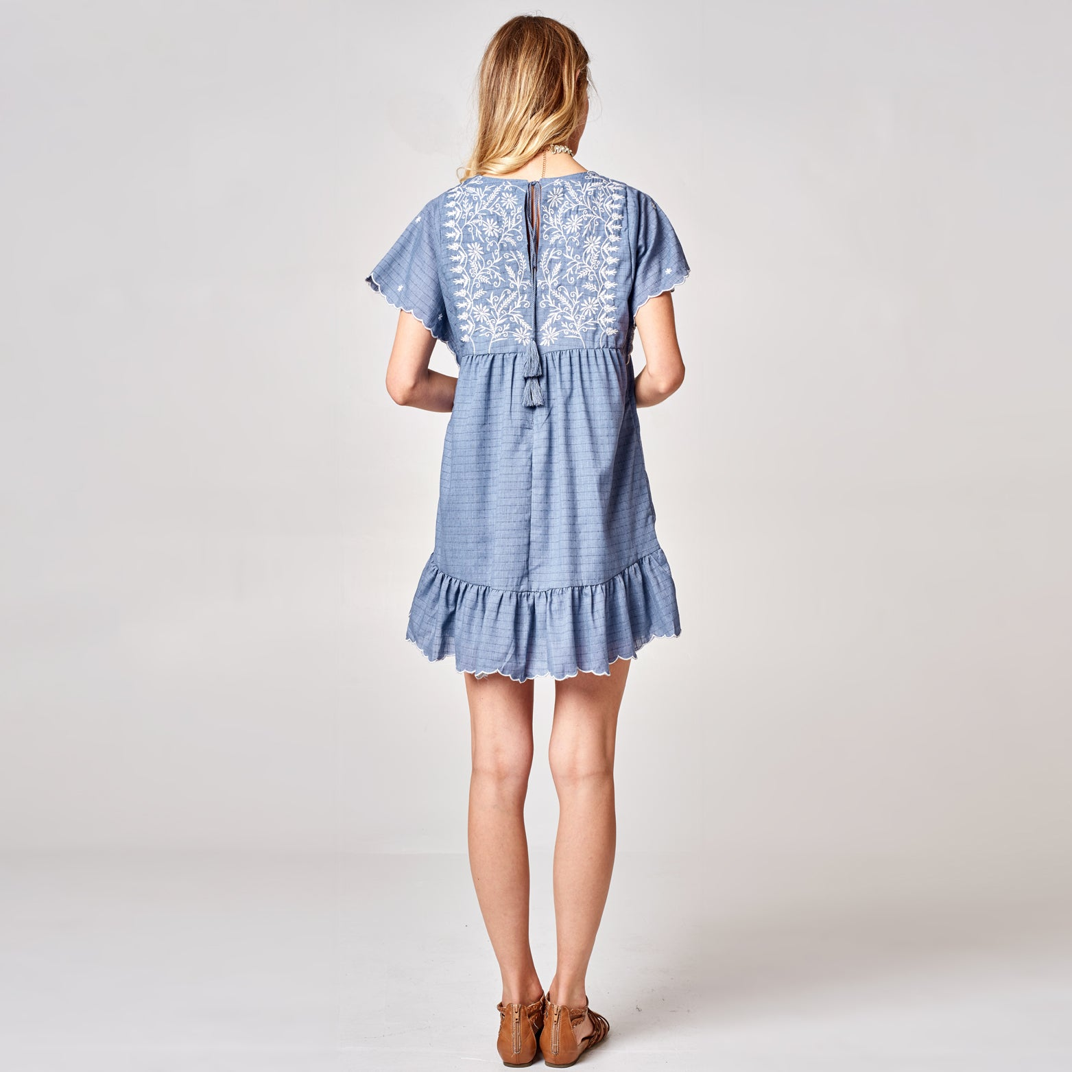 Embroidered Romper Dress - Love, Kuza