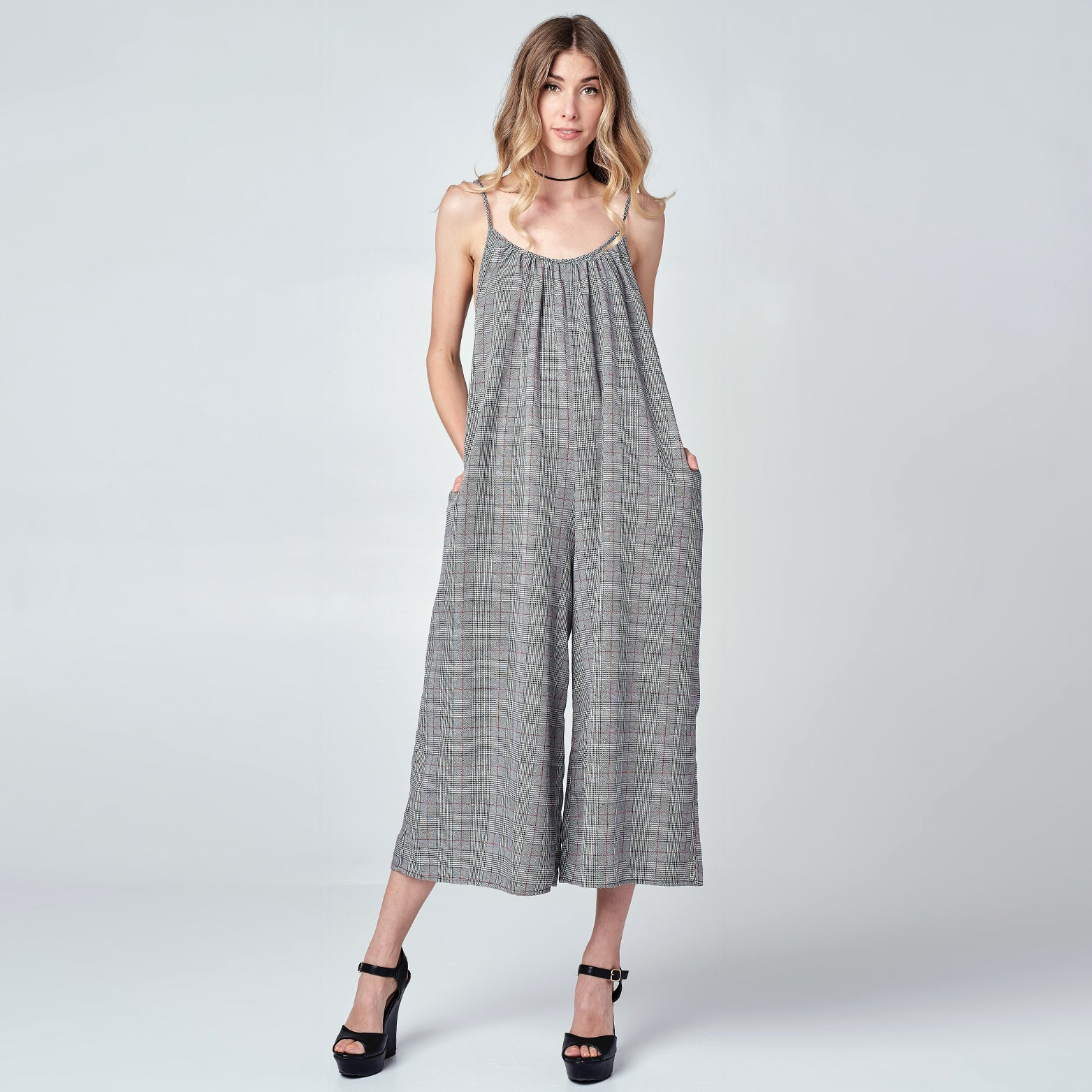Plaid Wide-Leg Jumpsuit