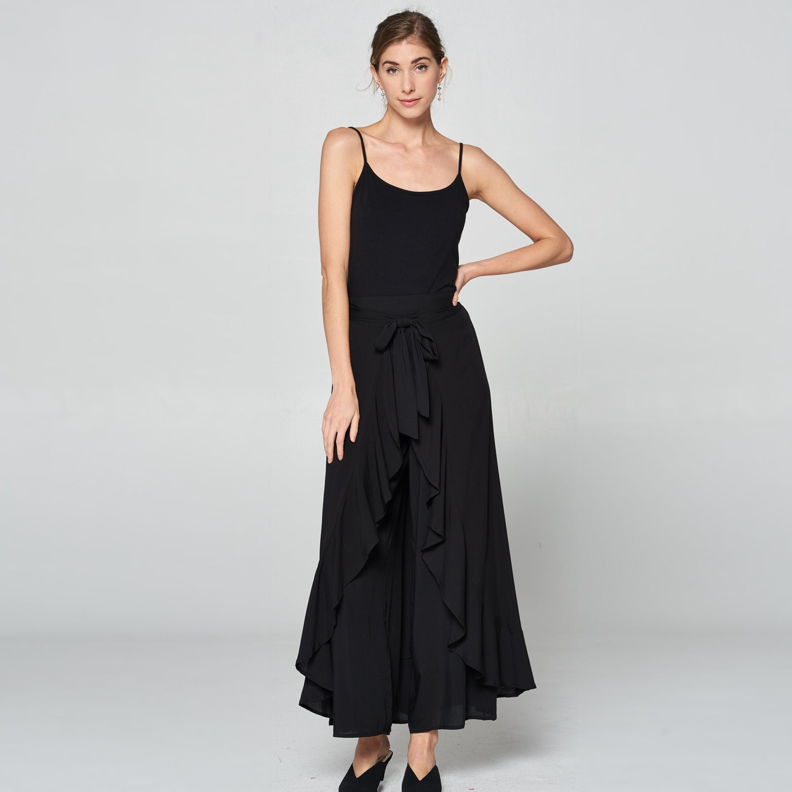 Wide Leg Long Skirt Pants