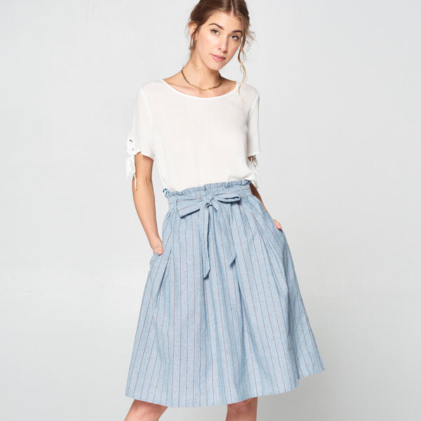 Denim Striped Cotton Skirt - Love, Kuza