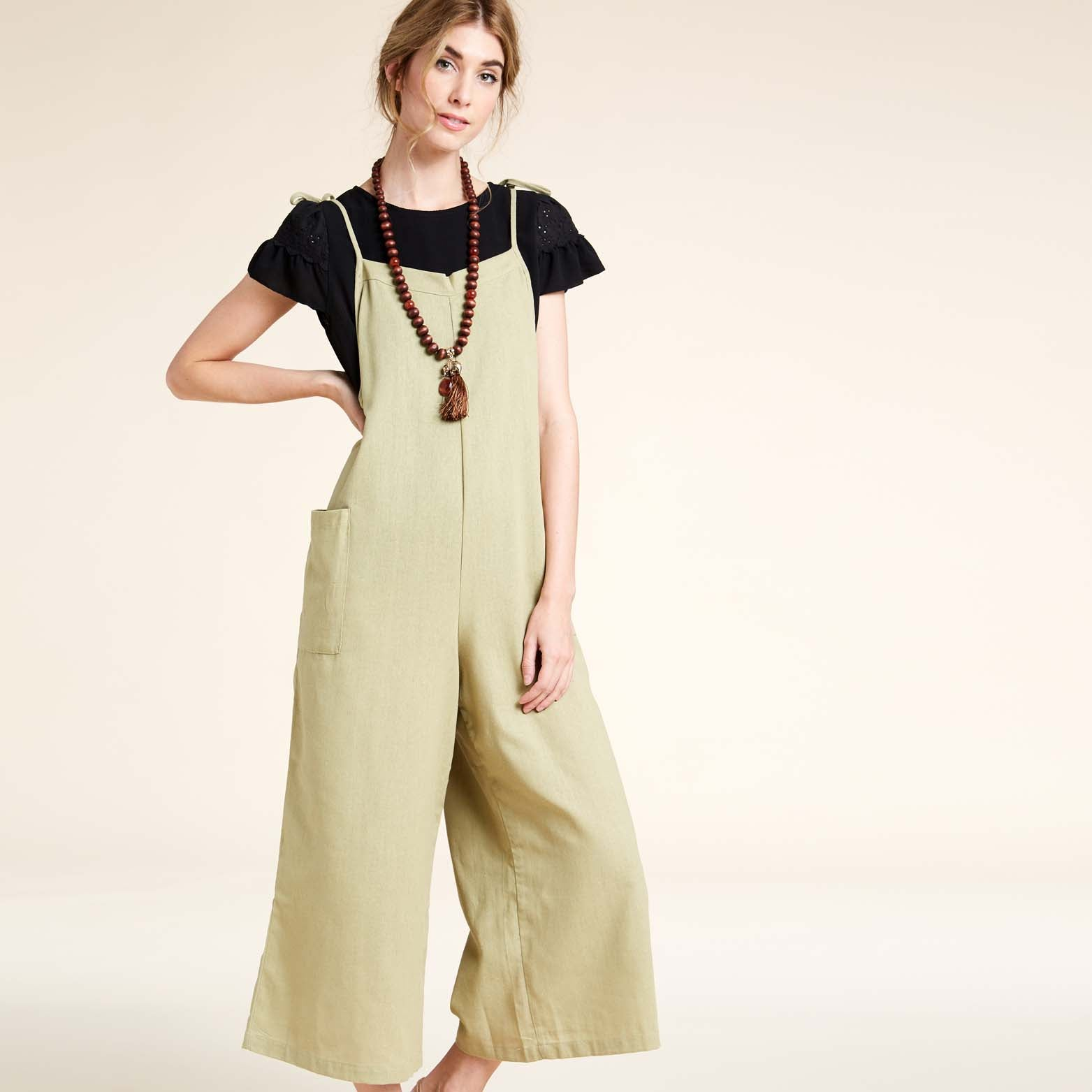 Shoulder Tie Overall Jumpsuit