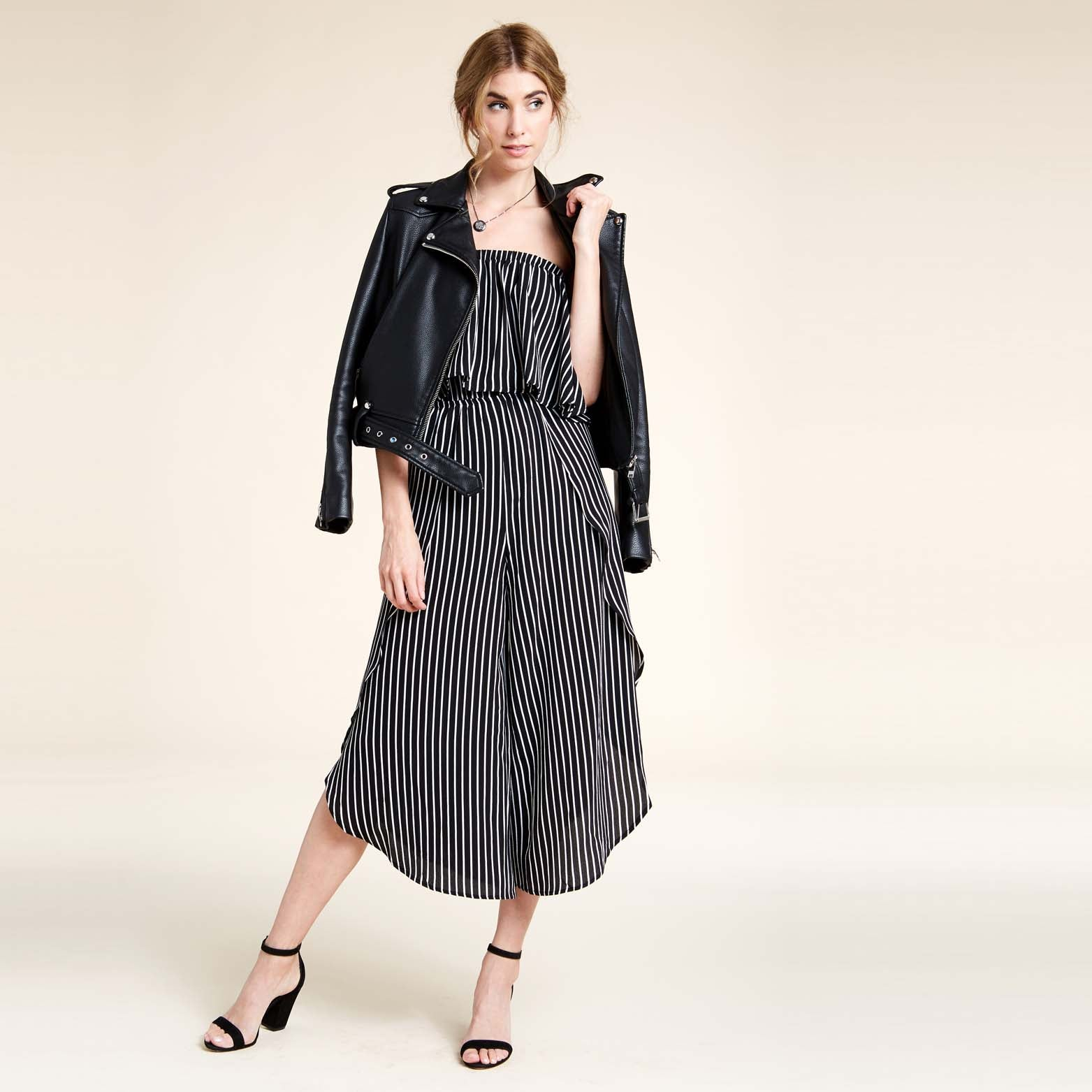Stripe Strapless Jumpsuit - Love, Kuza