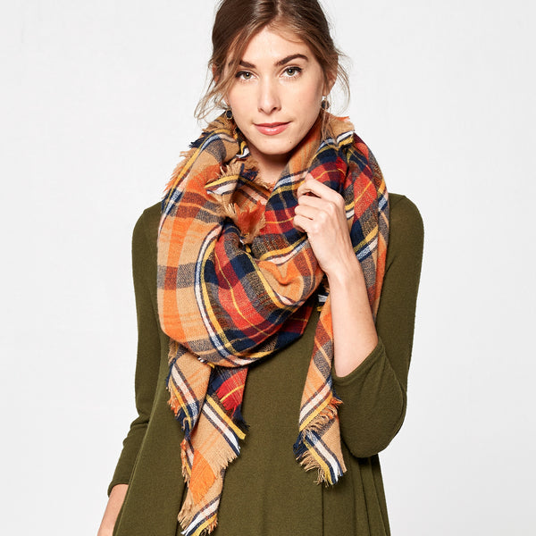 Fringed Plaid Square Blanket Scarf - Love, Kuza