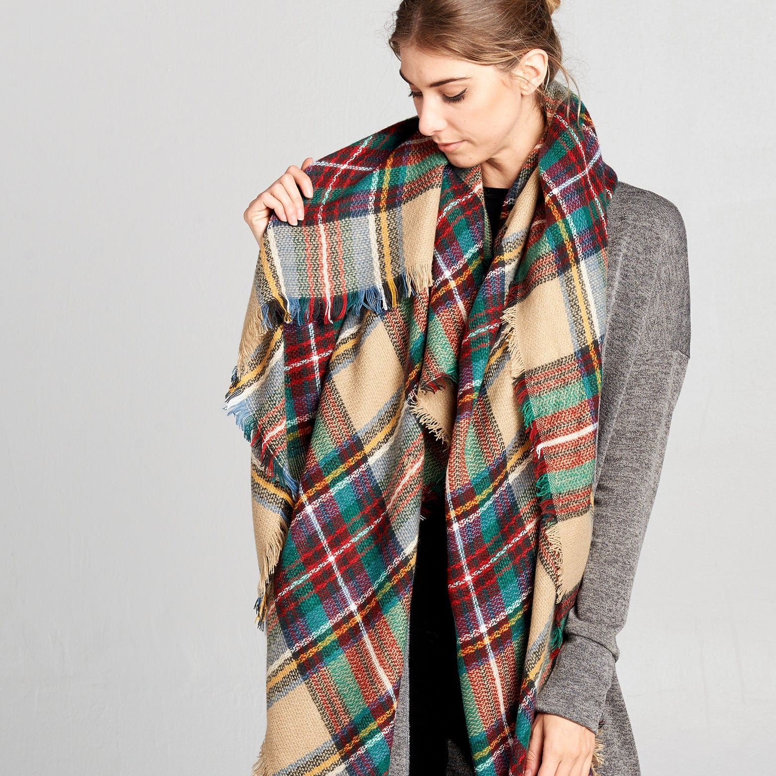 Fringed Plaid Square Blanket Scarf