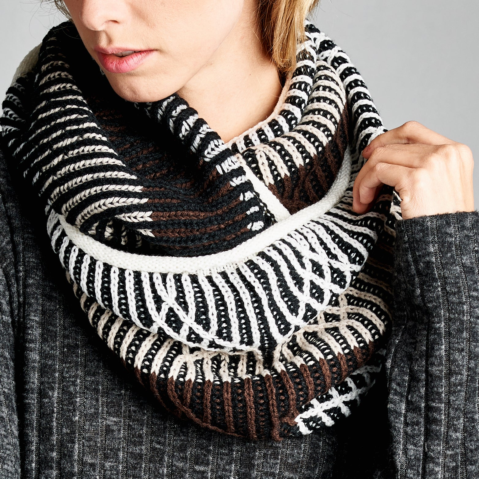 Knit-ly Geometric Infinity Scarf