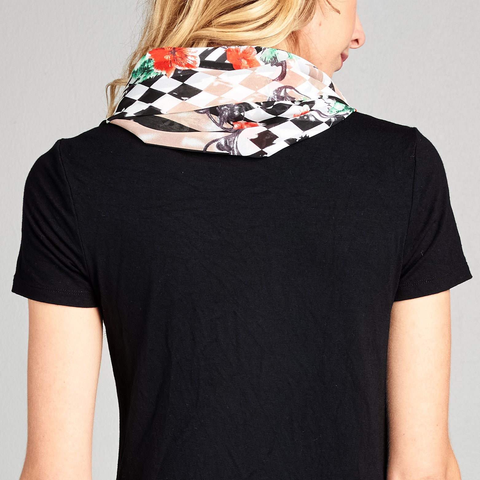 Checker Stripe Chiffon Infinity Scarf - Love, Kuza