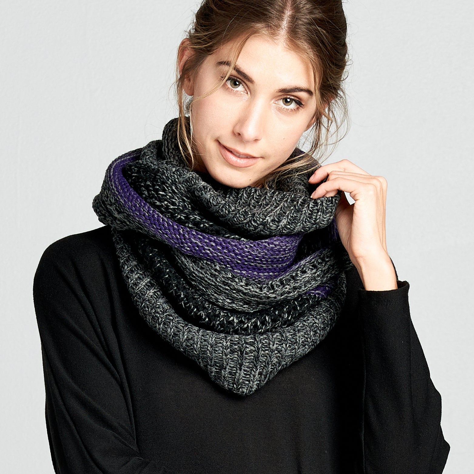 Cable Knit Marled Infinity Scarf