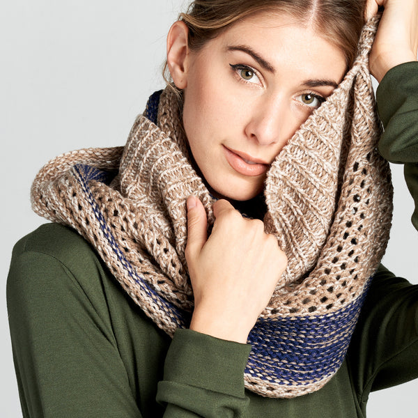 Cable Knit Marled Infinity Scarf - Love, Kuza