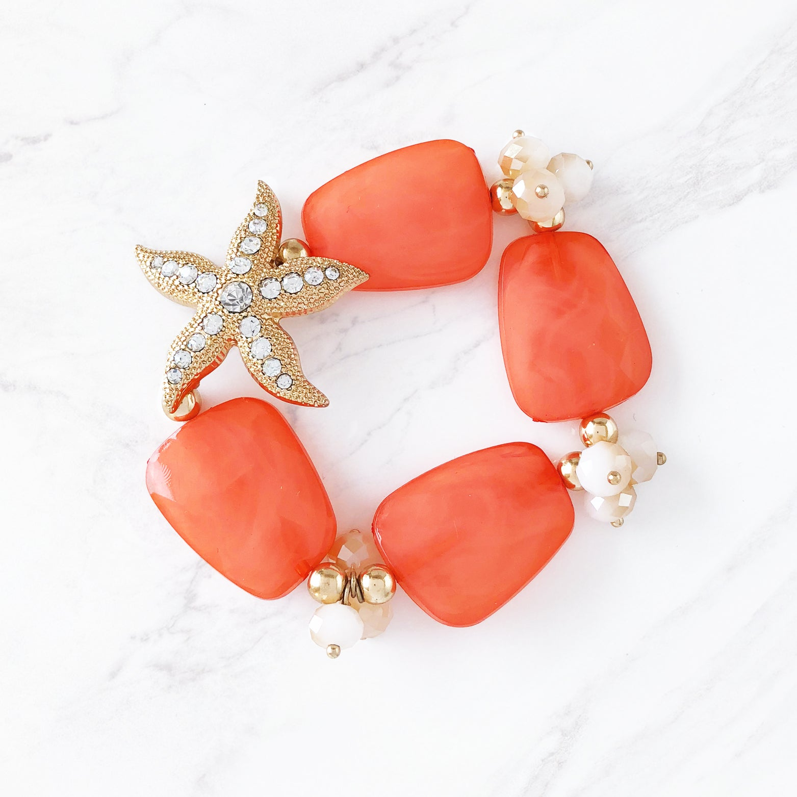 Crystal Starfish Coral Bracelet