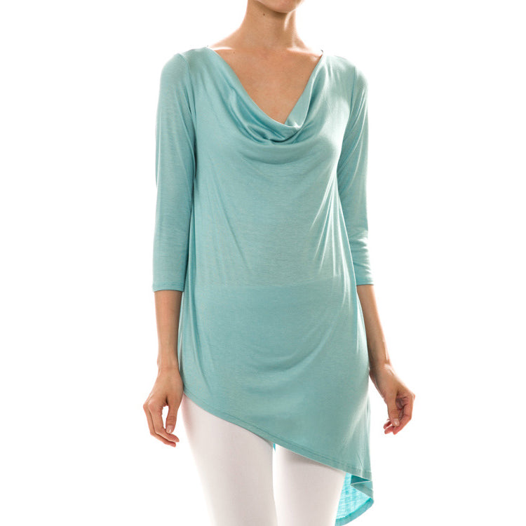 Asymmetrical Cowl Neck Top - Love, Kuza