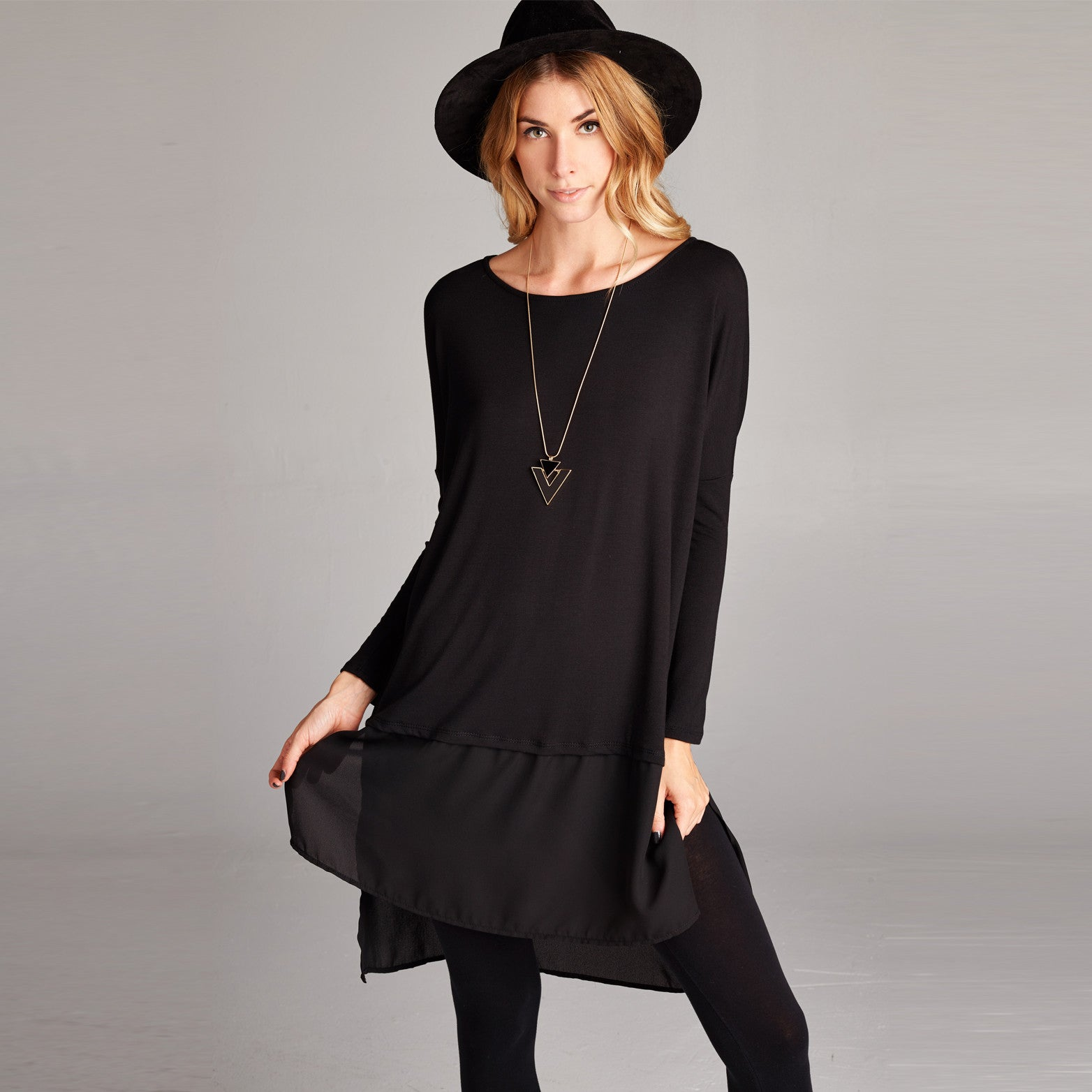 Chiffon Hem Modal Dress