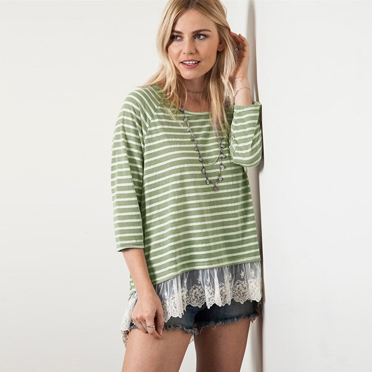 Peek Of Lace Stripe Top
