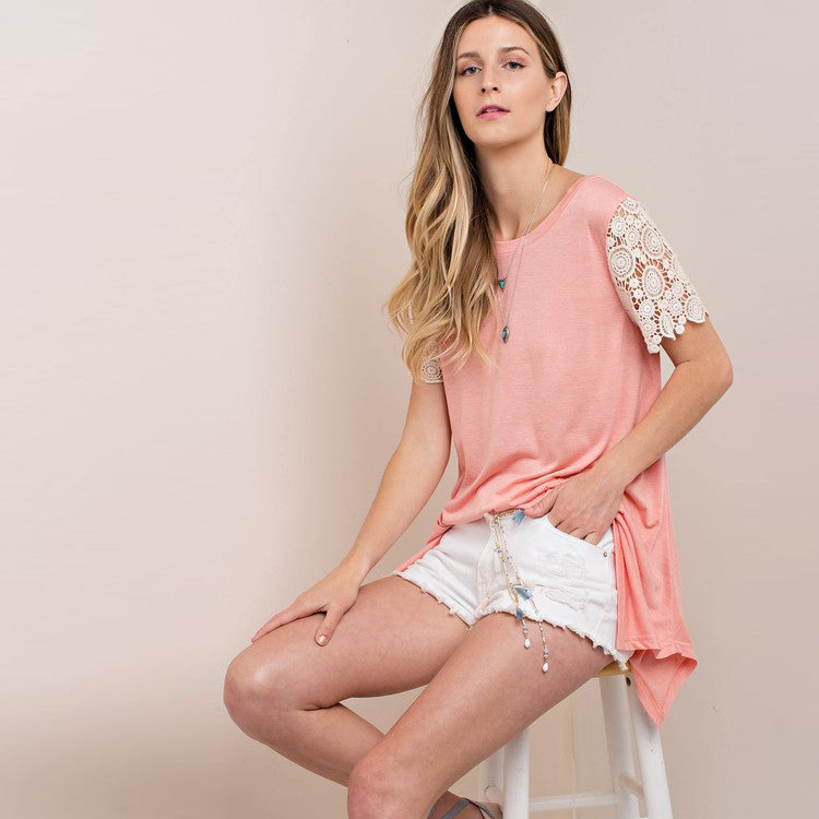 Lace Short Sleeve Top