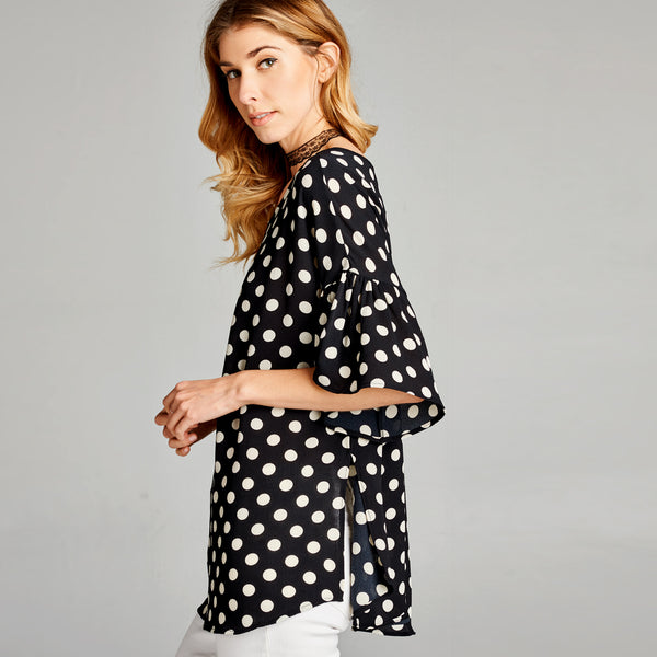 Relaxed Fit Polka Dot Bell Sleeve Top