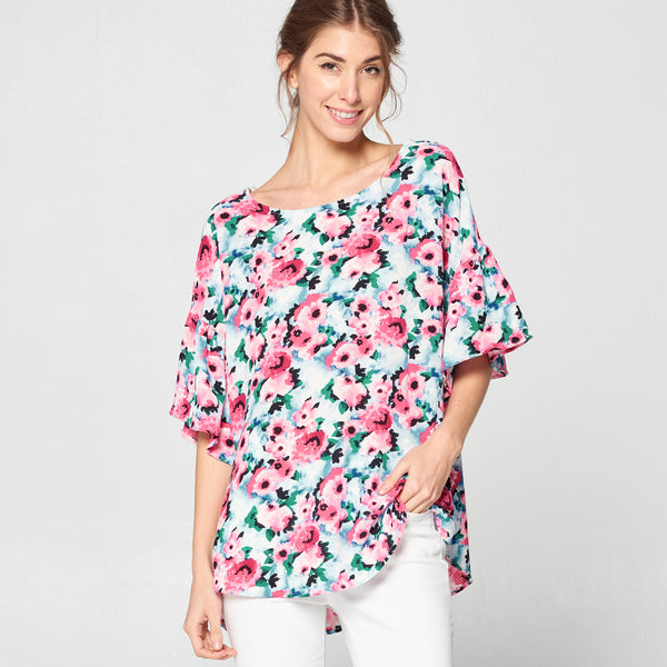 Pink Blossom Bell Sleeve Top - Love, Kuza
