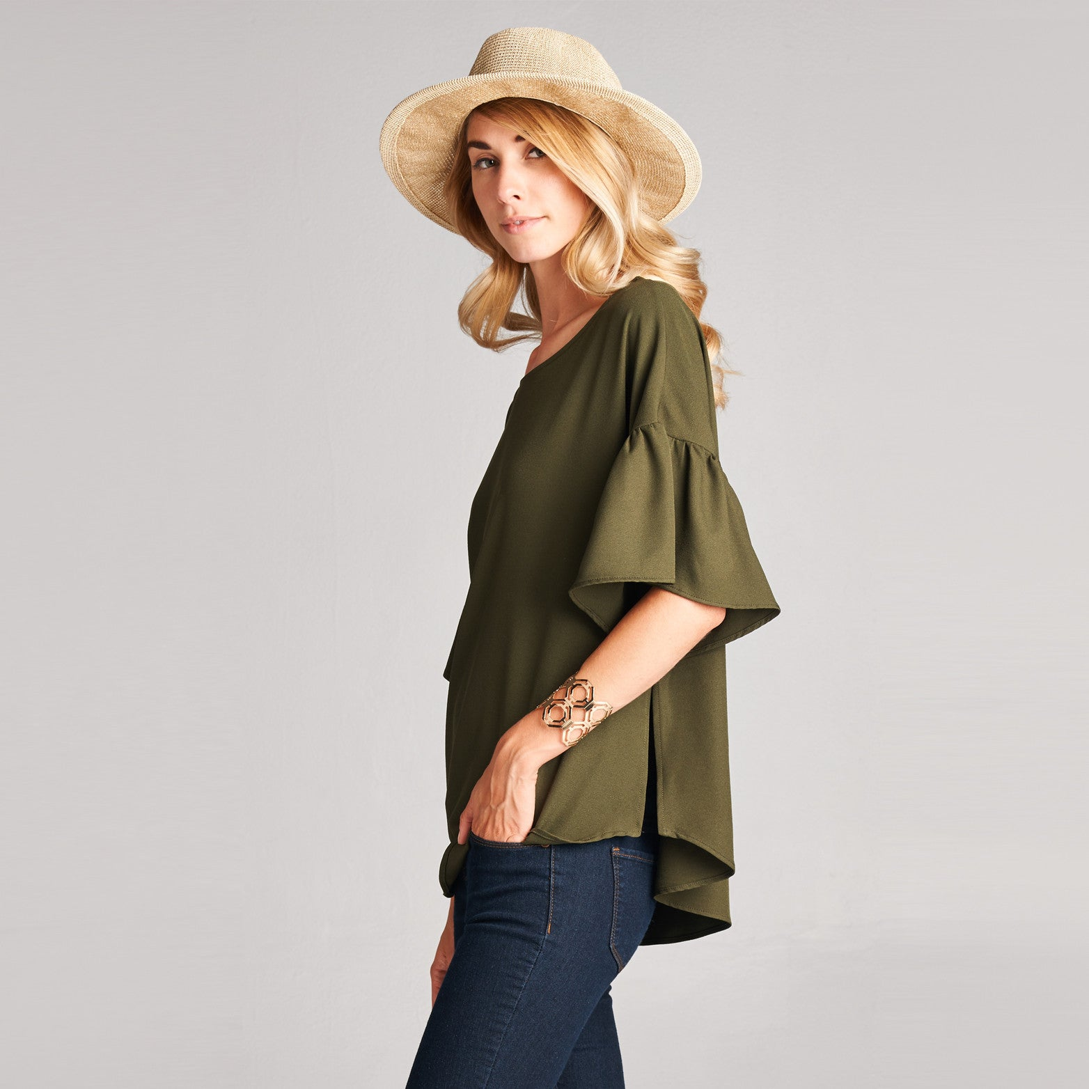 Relaxed Fit Bell Sleeve Top