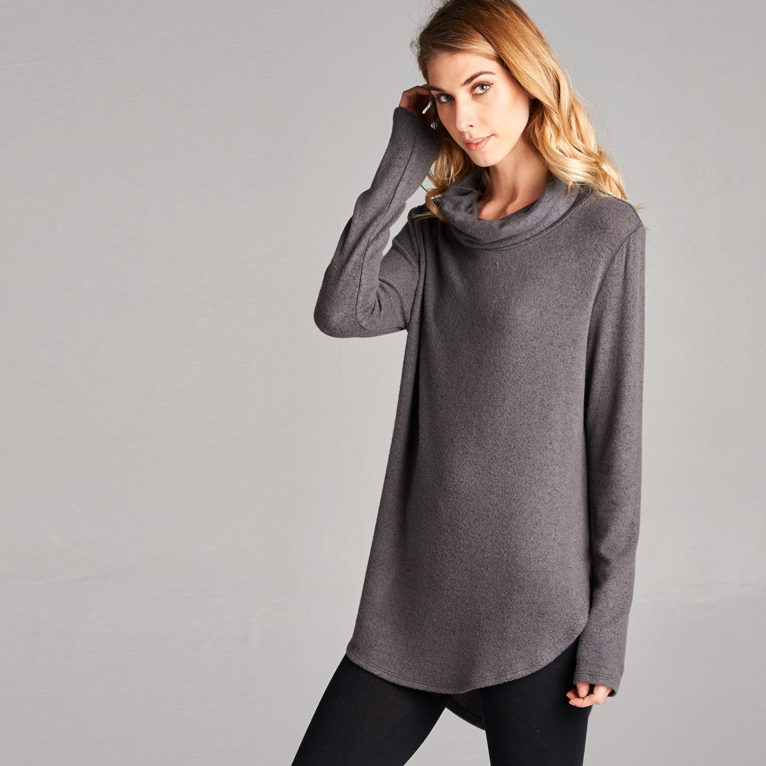 Brushed Hacci Cowl Neck Top